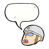 κεφάλι αστυνομικών κινούμενων σχεδίων με τη λεκτική φυσαλίδα Στοκ Εικόνα