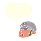 κεφάλι αστυνομικών κινούμενων σχεδίων με τη λεκτική φυσαλίδα Στοκ Φωτογραφίες