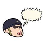 κεφάλι αστυνομικών κινούμενων σχεδίων με τη λεκτική φυσαλίδα Στοκ Φωτογραφία