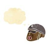 κεφάλι αστυνομικών κινούμενων σχεδίων με τη σκεπτόμενη φυσαλίδα Στοκ εικόνες με δικαίωμα ελεύθερης χρήσης