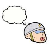 κεφάλι αστυνομικών κινούμενων σχεδίων με τη σκεπτόμενη φυσαλίδα Στοκ Εικόνες