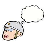 κεφάλι αστυνομικών κινούμενων σχεδίων με τη σκεπτόμενη φυσαλίδα Στοκ φωτογραφία με δικαίωμα ελεύθερης χρήσης