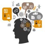 Κεφάλι επιστημόνων με τα εργαλεία και τις σκεπτόμενες φυσαλίδες Στοκ φωτογραφίες με δικαίωμα ελεύθερης χρήσης