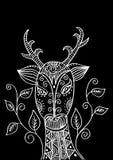 Κεφάλι ελαφιών στο διακοσμητικό ύφος Στοκ Φωτογραφία
