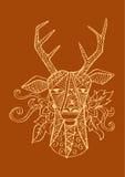 Κεφάλι ελαφιών στο διακοσμητικό ύφος Στοκ φωτογραφία με δικαίωμα ελεύθερης χρήσης