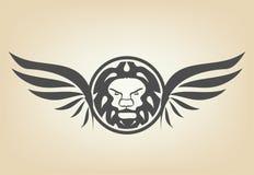 Κεφάλι λιονταριών με τα φτερά Στοκ Φωτογραφία