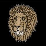 Κεφάλι λιονταριών ` s σε ένα μαύρο υπόβαθρο επίσης corel σύρετε το διάνυσμα απεικόνισης Στοκ εικόνες με δικαίωμα ελεύθερης χρήσης
