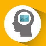 κεφάλι σκιαγραφιών με το εικονίδιο επικοινωνίας μηνυμάτων ηλεκτρονικού ταχυδρομείου Στοκ φωτογραφία με δικαίωμα ελεύθερης χρήσης