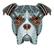 Κεφάλι σκυλιών μπόξερ zentangle τυποποιημένο, διανυσματικός, απεικόνιση, freehan Στοκ εικόνα με δικαίωμα ελεύθερης χρήσης