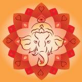 Κεφάλι Ganesh στο υπόβαθρο Lotus Mandala διανυσματική απεικόνιση