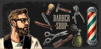 Κεφάλι hipster και εξοπλισμός για BarberShop ελεύθερη απεικόνιση δικαιώματος