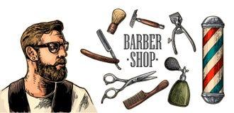 Κεφάλι hipster και εξοπλισμός για BarberShop απεικόνιση αποθεμάτων