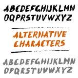 Κεφαλαία γράμματα γραπτό χέρι ABC πηγών βουρτσών με τις εναλλακτικές λύσεις απεικόνιση αποθεμάτων