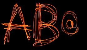 Κεφαλαίο αλφάβητο λέιζερ - κεφαλαίο γράμμα ένα β και Στοκ Φωτογραφία