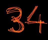Κεφαλαίο αλφάβητο λέιζερ - κύριος αριθμός 3 και 4 Στοκ φωτογραφίες με δικαίωμα ελεύθερης χρήσης