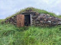 Κελάρι ρίζας με τη ανοιχτή πόρτα στη νέα γη Στοκ Εικόνες