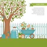 κηπουρική έννοιας εργαλεία άνοιξης κηπουρικής κήπων Έμβλημα με το θερινό κήπο λ Στοκ Φωτογραφία
