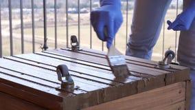 Κηπουρική και δενδροκηποκομία - η γυναίκα στο πεζούλι χρωματίζει το ξύλινο κιβώτιο για τη φύτευση της κινηματογράφησης σε πρώτο π απόθεμα βίντεο