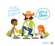 Κηπουρική με τα παιδιά περιστέρια ειρήνης eco έννοιας Συμμετοχή στις δραστηριότητες εκπαίδευσης Montessori οργανικός Κήπος Vegan  απεικόνιση αποθεμάτων