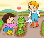 Κηπουρική παιδιών που λειτουργεί στην αγροτική διανυσματική απεικόνιση διανυσματική απεικόνιση