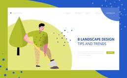 Κηπουρική, που φυτεύει το προσγειωμένος πρότυπο σελίδων Αυξανόμενη έννοια εγκαταστάσεων κηπουρών χαρακτήρα για ή τον ιστοχώρο ιστ διανυσματική απεικόνιση