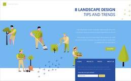 Κηπουρική, που φυτεύει το προσγειωμένος πρότυπο σελίδων Αυξανόμενη έννοια εγκαταστάσεων κηπουρών χαρακτήρα για ή τον ιστοχώρο ιστ ελεύθερη απεικόνιση δικαιώματος
