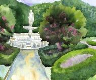 Κηπουρική τοπίων ενός πάρκου πόλεων με μια πηγή, γλυπτά, ελεύθερη απεικόνιση δικαιώματος