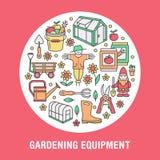 Κηπουρική, φύτευση, έμβλημα δενδροκηποκομίας με το διανυσματικό εικονίδιο γραμμών Εξοπλισμός κήπων, θερμοκήπιο, σκιάχτρο, pruners διανυσματική απεικόνιση