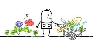 Κηπουρός κινούμενων σχεδίων με Wheelbarrow, τα λουλούδια και τα εργαλεία ελεύθερη απεικόνιση δικαιώματος