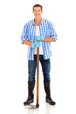 Κηπουρός που στέκεται λευκός Στοκ Εικόνες