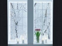 Κηροπήγια σε ένα windowsill Στοκ εικόνες με δικαίωμα ελεύθερης χρήσης