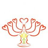 Κηροπήγιο με τις καρδιές για επτά κεριά, με έναν σταυρό και ένα λουλούδι διανυσματική απεικόνιση