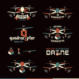 Κηφήνας ή quadrocopter σύνολο διανυσματικών διακριτικών απεικόνιση αποθεμάτων