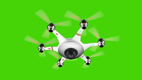 Κηφήνας με τα κάμερα παρακολούθησης που πετούν στην πράσινη οθόνη απεικόνιση αποθεμάτων