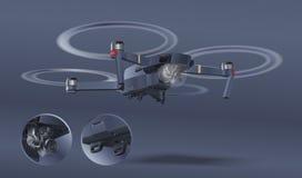 Κηφήνας που απομονώνεται στο άσπρο υπόβαθρο Φωτογραφία και βίντεο που δημιουργούνται Έννοια αέρα copter με τη κάμερα Πυροβολώντας απεικόνιση αποθεμάτων