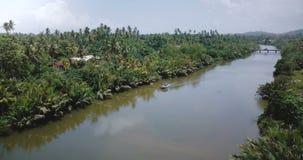 Κηφήνας που γυρίζει αριστερά επάνω από τη μικρή άσπρη βάρκα στον όμορφο ποταμό που ρέει στην αγριότητα ζουγκλών και τους τροπικού απόθεμα βίντεο