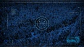Κηφήνας HUD POV που πετά πέρα από τη χιονώδη κοιλάδα τη νύχτα απεικόνιση αποθεμάτων