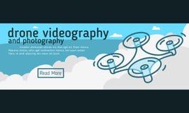 Κηφήνων Videography και φωτογραφίας έμβλημα Ιστού, επιγραφή, κάλυψη φ Στοκ φωτογραφία με δικαίωμα ελεύθερης χρήσης