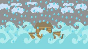 Κιβωτός του Νώε ` s που επιπλέει στη μέση της θάλασσας με το νεφελώδεις ουρανό και τη βροχή απεικόνιση αποθεμάτων