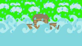 Κιβωτός του Νώε ` s που επιπλέει στη μέση της θάλασσας με το νεφελώδη ουρανό και της βροχής σε μια πράσινη οθόνη διανυσματική απεικόνιση