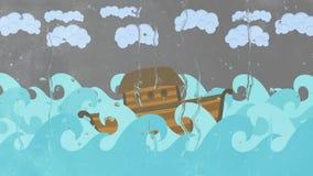 Κιβωτός του Νώε ` s που επιπλέει στη μέση της θάλασσας
