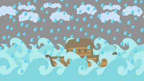 Κιβωτός του Νώε ` s που πλέει στη θάλασσα κάτω από τη βροχή σε έναν νεφελώδη ουρανό ελεύθερη απεικόνιση δικαιώματος