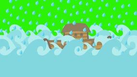 Κιβωτός του Νώε ` s που πλέει στη θάλασσα κάτω από τη βροχή σε μια πράσινη οθόνη ελεύθερη απεικόνιση δικαιώματος