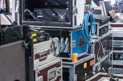 Κιβώτια για τη μεταφορά των μουσικών οργάνων Στοκ φωτογραφίες με δικαίωμα ελεύθερης χρήσης