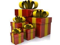 Κιβώτια δώρων πέρα από την άσπρη ανασκόπηση Στοκ Εικόνα