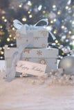 Κιβώτια δώρων με την κάρτα Στοκ Φωτογραφία