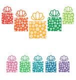 Κιβώτια δώρων με snowflakes στο λευκό διανυσματική απεικόνιση