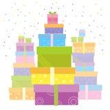 Κιβώτια δώρων. Το διάνυσμα παρουσιάζει απομονωμένος στο λευκό Στοκ εικόνα με δικαίωμα ελεύθερης χρήσης