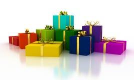 Κιβώτια δώρων χρώματος Χριστουγέννων με τις χρυσές κορδέλλες Στοκ φωτογραφίες με δικαίωμα ελεύθερης χρήσης