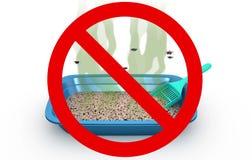 Κιβώτιο απορριμάτων γατών στο απαγορευμένο σημάδι, τρισδιάστατη απεικόνιση Στοκ Εικόνες